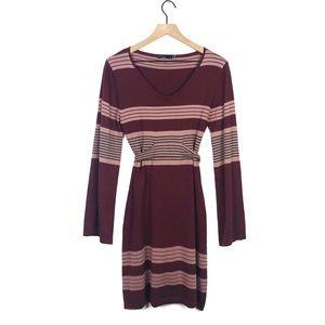 Prana Long Flare Sleeve VNeck Sweater Belted Dress